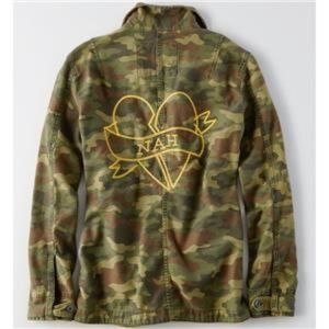 AMERICAN EAGLE Green Camo NAH Army JACKET L NWT